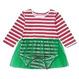 Cuteelf Baby Langarm Weihnachten Streifen Print Hare Netting Rock Baby Langarm Streifen Print Kleid Weihnachten Kleidung Wacky Holiday Dress Up Comfort Set