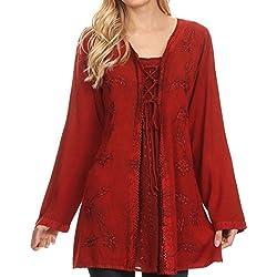 Sakkas 1660 - Blusa de manga larga ajustable Caylyan larga bordada con la tapa del corsé - Rojo - 1X / 2X