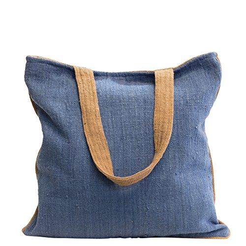 manbefair Fair Trade Grosser Shopper aus Eri-Seide Schultertasche Nina Umhängetasche Hobo Bag Tasche 42x43 cm (BxH) (Blau)