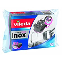 Vileda 157403 Clean & Shine Sponge, Stainless Steel