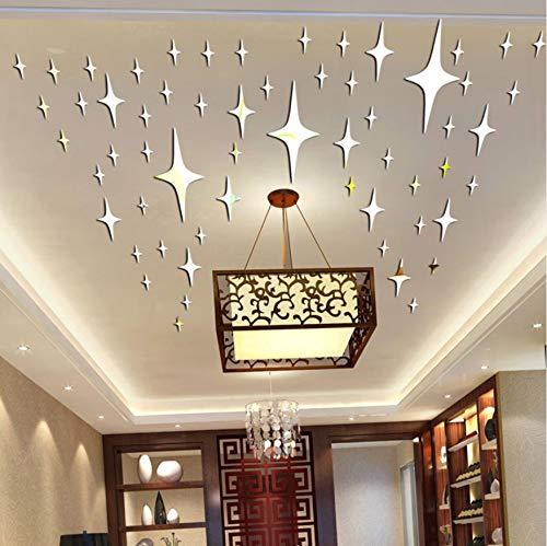 84 Stücke Decke Sterne Spiegel Wandaufkleber 3D Wohnkultur Aufkleber Für Kinderzimmer Kunst Wohnzimmer Hintergrund Acryl Wandtattoos.Silber