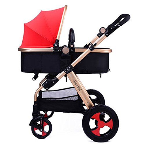 BBZZZ bike Baby-Warenkorb High Landschaft Kinderwagen kann Licht zu sitzen Lie Down Folding Explosion - Proof Radstoßdämpfern Trolley Umweltschutzmaterial (Farbe : C) Explosion Proof Lichter