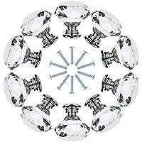 gotyou 10 Piezas Tirador de Puerta de Cristal Transparente,Tirador para Muebles de Cristal,Cristal Cristalino Perilla con Tornillos,Perilla del Cajón del Gabinete,Tiradores de Muebles(30mm)