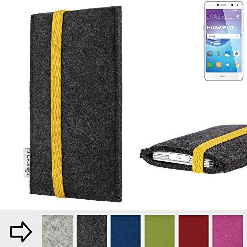 flat.design Handy Hülle Coimbra für Huawei Y6 2017 Single SIM passgenau Handytasche Filz Tasche fair schwarz gelb