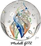 Traumkugel- Briefbeschwerer groß: Motiv Bunte Spirale (Feng Shui) mit Kleinen Blasen