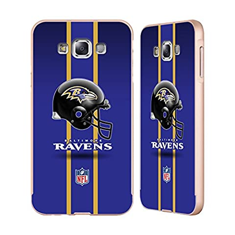 Officiel NFL Casque Baltimore Ravens Logo Or Étui Coque Aluminium Bumper Slider pour Samsung Galaxy E7