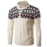 YKENSOT Lässige Pullover Stand Kragen gestreift Stricken für Männer urban Casual Pullover Pullover Beige XXL