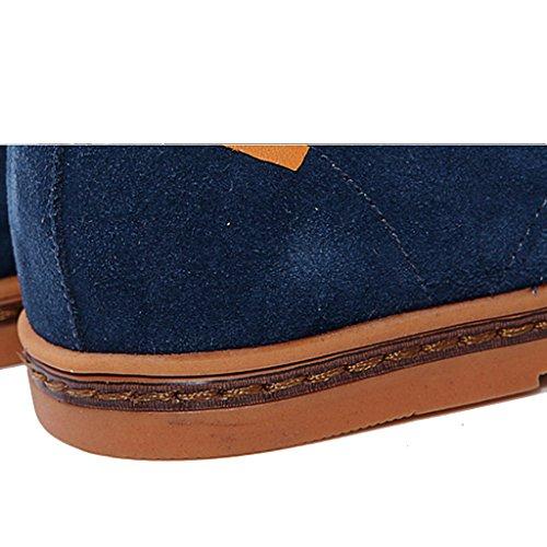SIMPVALE Homme Chaussures de ville a Lacets Suede Oxfords Bleu