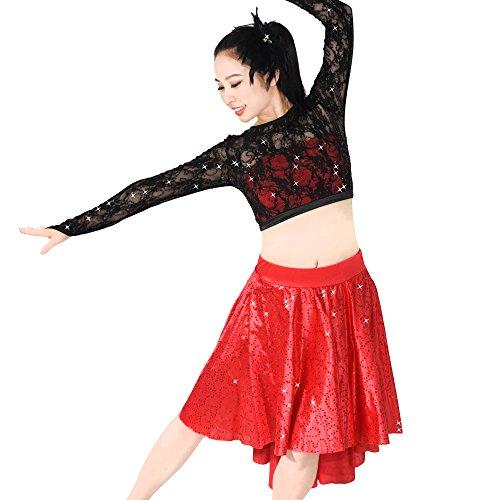 (MiDee 2 Stücke Spitzen Lange Ärmel Paillettenbesetzte Tanz Kostüm Latein Lyrisches Kleid (Schwarz/Rot, SA))