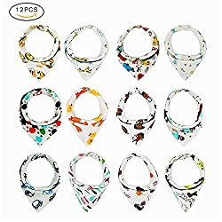 Baby Boy Bibs, Tinabless 12 Pcs Unisex Colourful Double-layer Cotton Bandana Dribble Bibs For Boys & Girls