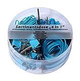 Scatola 4 in 1, 20 anelli in gomma, 30 pin, 70 graffette 28 mm, 10 morsetti multiuso 19 mm, tutto in blu fosforescente, in scatola