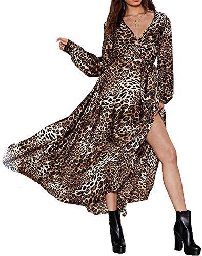 Langarm Ballonärmeln Ballon-Ärmel Tiefer V-Ausschnitt Kreuz Wickel Vorne Leoparden Leopard Plissee Plissiertes Langes Lange Maxi Maxikleid Ausgestellte A-Linie A-Linien Hemd Kleid Braun 2XL -