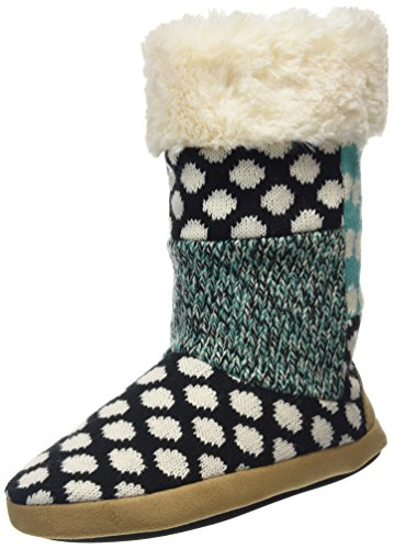 DearfoamsTall Patchwork Boot With Memory Foam - Pantofole donna, Nero