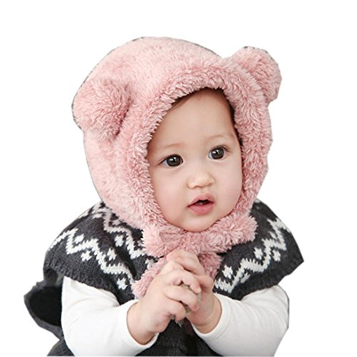 Babybekleidung Hüte & Mützen Longra Niedliche Baby Kleinkind Mädchen Junge Hut Hairball wollene Mütze Cap Winter Warm Hüte(3-8 Monate ) (Pink)