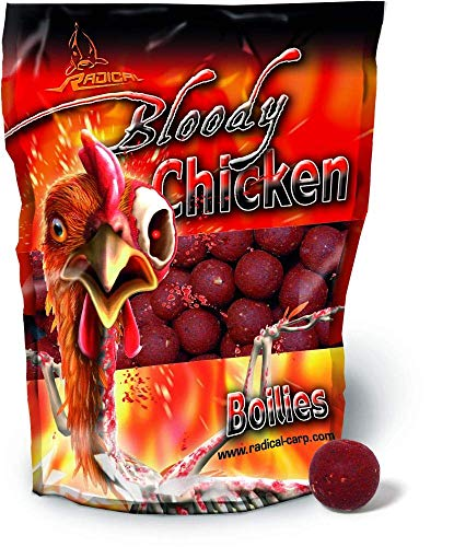 Quantum Naturköder 20mm/1kg Radical Boilie Bloody Chicken 20mm 1 KG, Rot/braun,