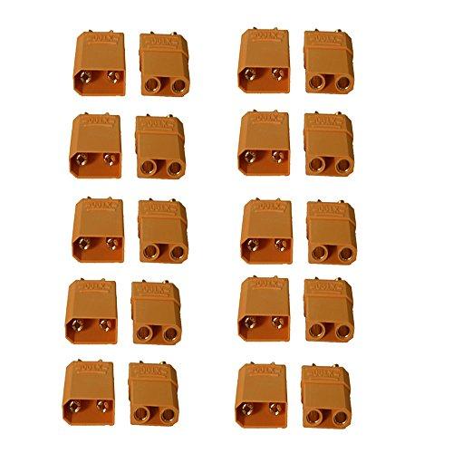 JVJ 10 Paare(10 Stück) XT90 Batterieanschluss Set 4.5mm Männlich Weiblich Gold überzogenes Bananenstecker Anzug für 90-120A Strom