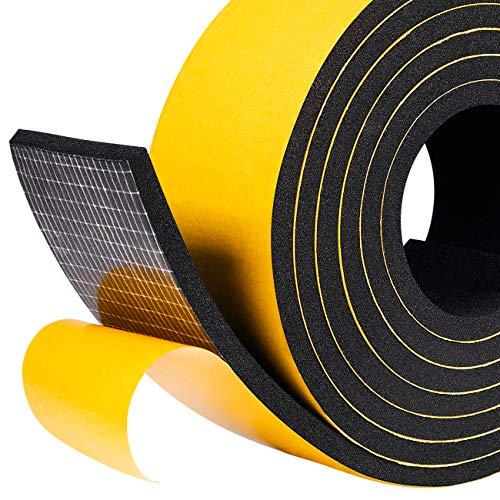 Moosgummi selbstklebendes Dichtungsband 50mm(B) x6mm(D) Schaumstoff klebeband Fenster-Türdichtung, Schaumstoff selbstklebend für Kollision Siegel Schalldämmung Gesamtlänge 4m (2 Rollen je 2m lang)
