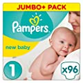 Pampers New Baby, 96 Nappies, 2-5 kg - Size 1 by Procter and Gamble