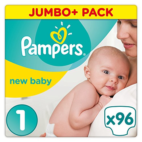 Pampers Premium Protection Baby Windeln, Gr.1 Newborn (2–5 kg), Jumbo+ Pack, 1er Pack (1 x 96 Stück)
