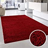 Shaggy-Teppich, Flauschiger Hochflor Wohn-Teppich, Einfarbig/Uni in Rot für Wohnzimmer, Schlafzimmmer, Kinderzimmer, Esszimmer, Größe: 150 x 150 cm Quadratisch