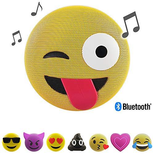 Jamoji Bluetooth Lautsprecherbox für Kinder, Tongue Out, kabellose Lautsprecher mit integriertem Mikrofon, AUX-Anschluß, Micro-USB Anschluß, akkubetrieben mit 6 Stunden Laufzeit, Emoji, Smiley