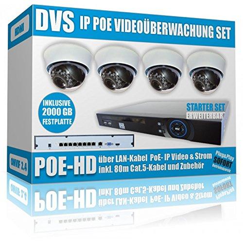 Preisvergleich Produktbild DVS Germany - IP HD 2000 GB Videoüberwachung Set ,  IP Kameras und Netwerkrekorder - DVLC-IPC4SET12000X