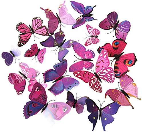 ElecMotive 24 tlg 3D Wandtattoo Wand Aufkleber Schmetterlinge im 3D-Style, 24-Stück, Wanddekoration mit Klebepunkten zur Fixierung (Klebepunkten+ Magnet) 24 Stück (12pc Pink+12pc Lila) - Pro Style Wand