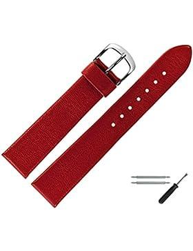 Uhrenarmband 18mm Leder rot matt - inkl. Federstege & Werkzeug - zeitloses Ersatzarmband mit glatter Bandoberfläche...