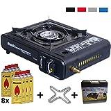 Gaskocher 2in1 Campingkocher mit 8 Gaskartuschen 2,3 KW + Gasherdkreuz + Koffer (Farbe Schwarz, Rot, Blau oder Grau)