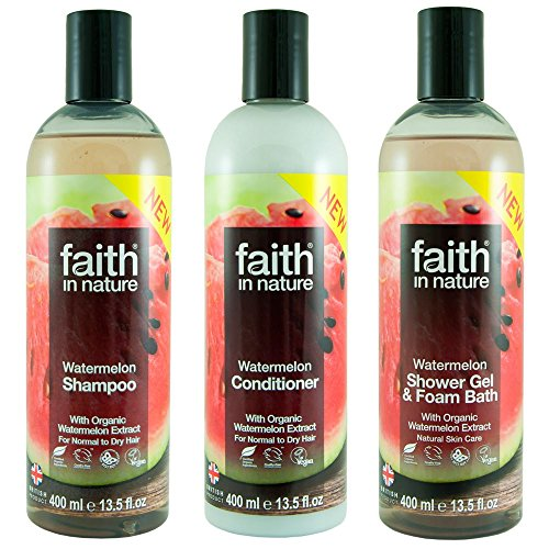 Faith In Nature Watermelon Shampoo, Conditioner and Shower Gel Trio Pack -