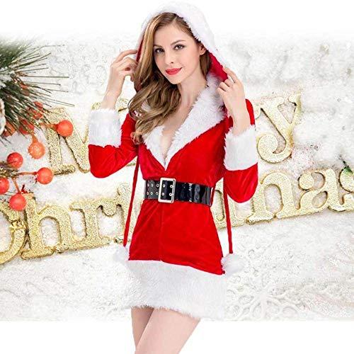 Gürtel Kugel Kostüm - KAIDILA Weihnachtskostüm Cosplay Sexy Weihnachten Geschenk mit Kapuze Weihnachten Kleid Flauschige Kugel Weihnachten tragen Gürtel Christmas Club Costum E