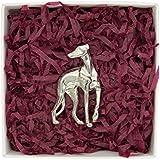 Luxury Fine Pewter Greyhound or Whippet Brooch, Handcast By William Sturt