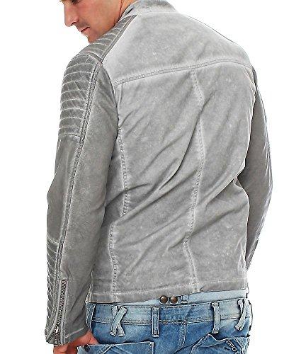 Redbridge by Cipo & Baxx Herren Übergangsjacke M-6011 mit Kunstlederärmeln Grey
