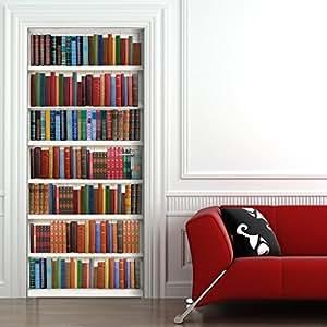 Fototapete Bücherregal türtapete selbstklebend türposter bücherregal fototapete türfolie poster tapete amazon de