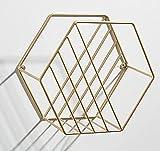 Zeitungshalter Wand Montiert Zeitungsständer Metall Eisen Art Deco Zeitschriftenkorb Einfache Ecke Regal für Badezimmer Wohnzimmer Büro Den(Gold, 24x14x21cm)