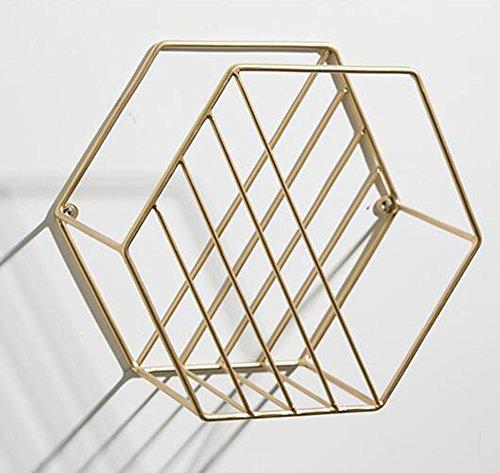 Zeitungshalter Wand Montiert Zeitungsständer Metall Eisen Art Deco Zeitschriftenkorb Einfache Ecke Regal für Badezimmer Wohnzimmer Büro Den(Gold, 24x14x21cm) (Art-deco-regale)