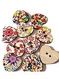 Skyeye 25 Stück Doppel Loch Cartoon Farbe herzförmige Holzknöpfe DIY Kleidung Zubehör handgemachte Materialien Tasten gemalt für Kinder Kleidung Knopf