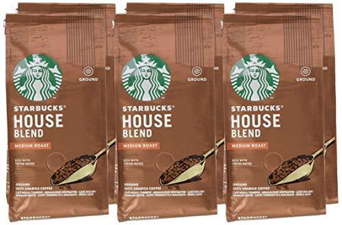 STARBUCKS House Blend Medium Roast Filterkaffee, Röstkaffee gemahlen, Mittlere Röstung, (6 x 200g)
