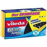 Vileda 141614 Glitzi Jumbo Lot de 3 éponges antibactériennes grattantes pour larges surfaces