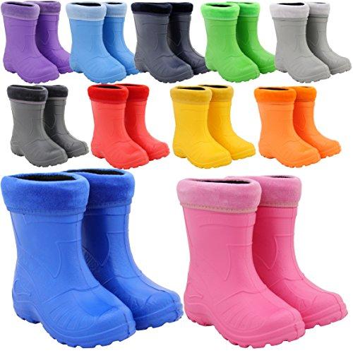 Regenstiefel Gummistiefel Kinderstiefel Kinder superleicht gefüttert 11 Farben NEU Rosa