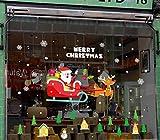 Wasdq Weihnachten 3D-Effekt Wandtattoo 'Weihnachtsmann'   Elch   Merry Christmas   selbstklebendes Wandbild   Wandsticker  DIY Wallpaper  Wandaufkleber, Color 4