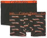 Calvin Klein Trunk 2PK Boxer, Nero (VCR Logo Black W/Tango WB SXL), XL Uomo