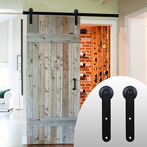 200lb Roller (LWZH 9FT Beschlagset für Schiebetür des Getreidespeichers, im amerikanischen Stil, für Einzeltüren/Doppeltüren geeignet (schwarze,Rund förmige Schiebetürbeschlag))