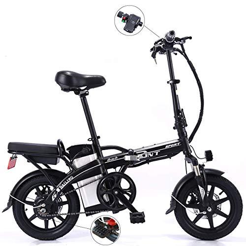 WYD Bicicleta de montaña eléctrica 14 Pulgadas Plegable Bicicleta eléctrica Batería de Litio extraíble Frenos de Doble Disco Bicicleta 250W 48V Bicicleta eléctrica con Velocidad máxima 25 km/h,Black