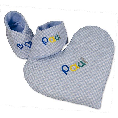 Geschenkset kleine Herzen hellblau kariert und Wärmekissen Herz, mit Name, personalisiert und individuell als Taufgeschenk, Mädchen, Junge, Baby, Neugeborene, Geschenk zur Geburt, Babygeschenk