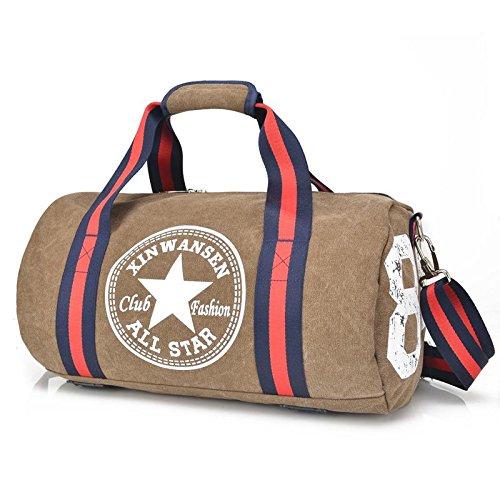 OOLIFENG Canvas Reisetasche Gepäcktasche Männer und Frauen Schultertasche Sport und Fitness Brown