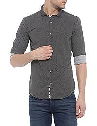 SHOWOFF Mens Black Printed Casual Shirt