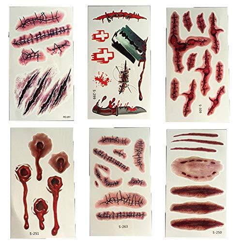 Halloween Tattoos, Zombie Narben Vampir Blutungen Wunde Narben Make-Up Tattoo Aufkleber (3 Sätze) (Unheimlich Zombie Halloween-make-up)