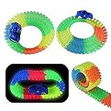 Rennbahn 240 Stück mit LED Auto Autorennbahn Glowing Racing Spielzeug, Kinder Autobahn, Flexible Variable Track Set, Glow in The Dark für Kinder 3 4 5 6 7 8