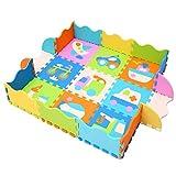 MQIAOHAM Puzzlematte Spielmatte gemischte Motive Pastellfarben Spielteppich Schaumstoff Puzzle Kinderteppich P025B3010
